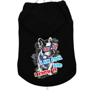 """Cool And Know It"" Dog Hoodie / T-Shirt in Black"