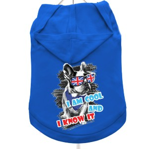 """Cool And Know It"" Dog Hoodie / T-Shirt in Blue"