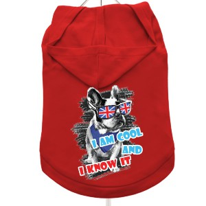 """Cool And Know It"" Dog Hoodie / T-Shirt in Red"