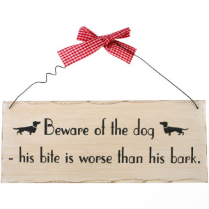 Beware of the Dog Dachshund Wall Plaque