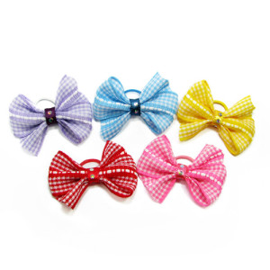 Gingham Crystal Bows Hair Bands pk/10