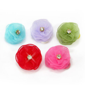 Crystal Rosettes Hair Bands Pk/10