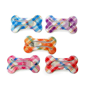 Plaid Bendy Bone Hair Clips pk/10