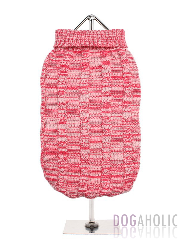 Pink Waffle Textured Knitted Sweater