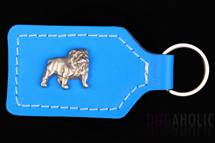 English Bulldog Leather Keyring