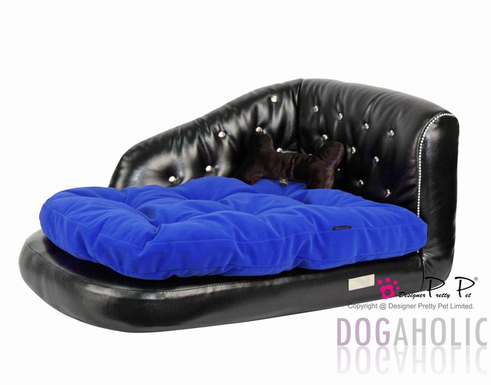 Pretty Pet Imitation Leather Chaise Longue Sofa Bed in Black