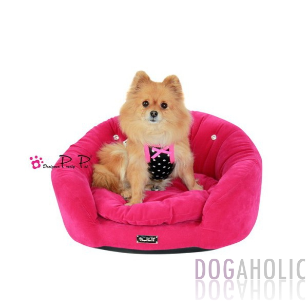 Pretty Pet Velvet Round Couch Bed in Hot Pink