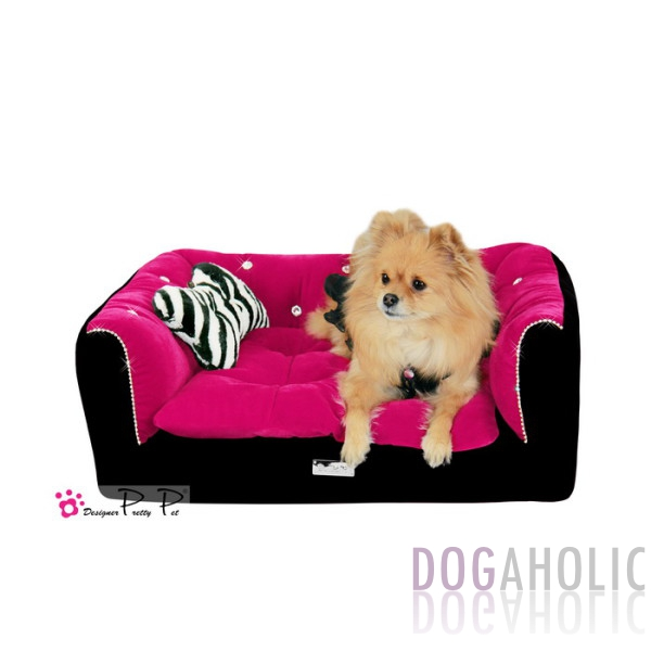 Pretty Pet Rectangle Velvet Counch Bed in Black & Hot Pink