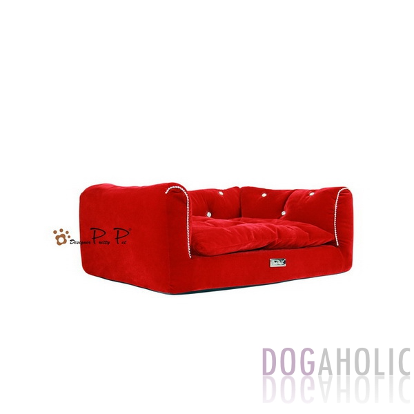 Pretty Pet Rectangle Velvet Counch Bed in Red