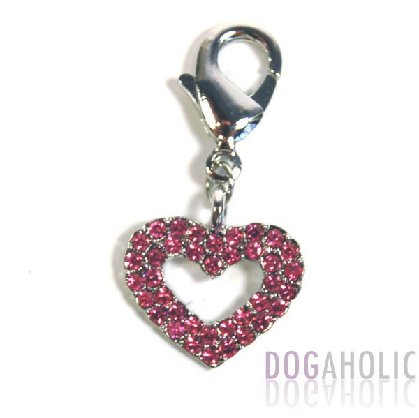 Hollow Heart Collar Charm in Pink