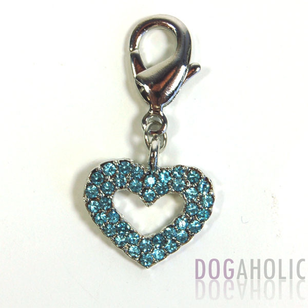 Hollow Heart Collar Charm in Blue