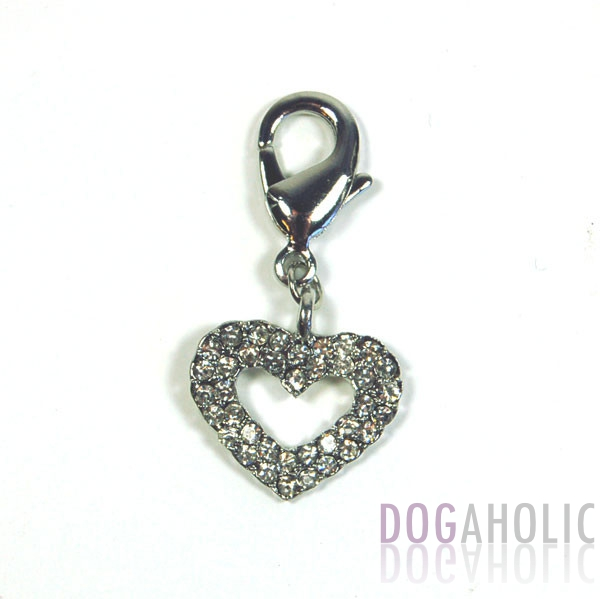 Hollow Heart Collar Charm in Clear