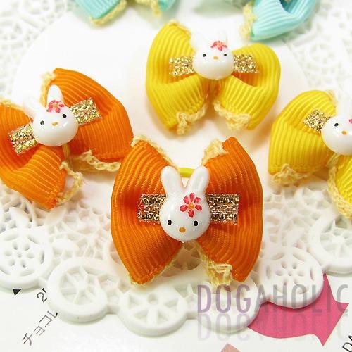 Bunny Head Bows Hair Bands pk/10