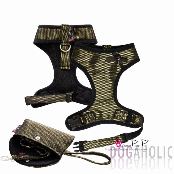 Pretty Pet Bling Bling Harness Three-Piece Set in Gold