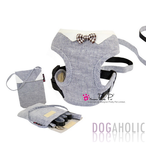 Pretty Pet Bowtie Harness 3-piece Set in Blue