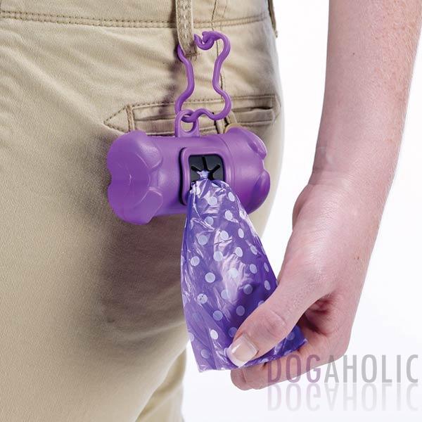 Bone Shaped Poop Bag Holder in Purple