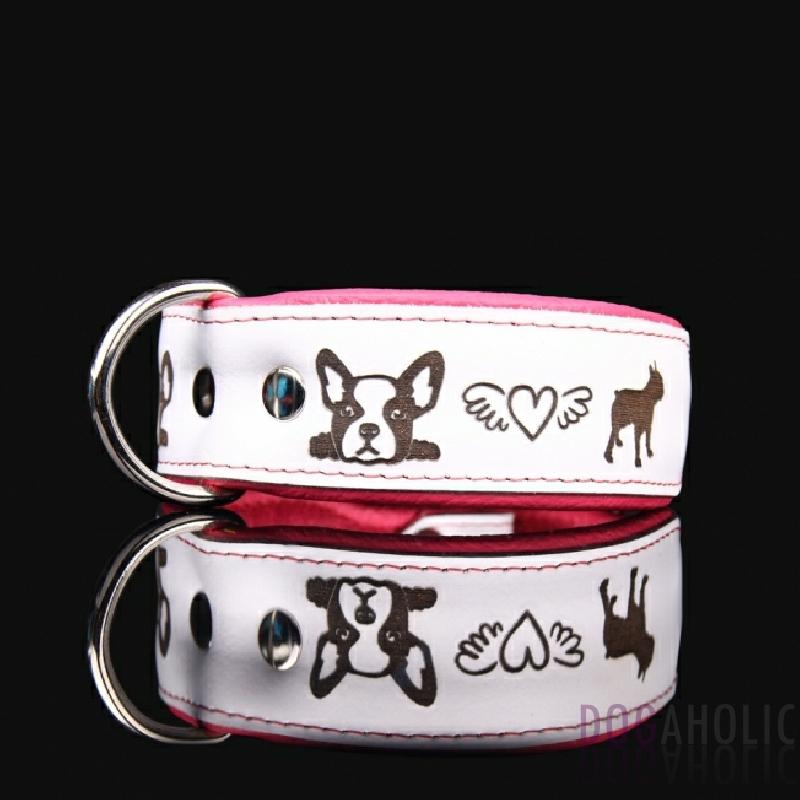 French Bulldog Engraved Leather Dog Collar 40mm Dogaholic
