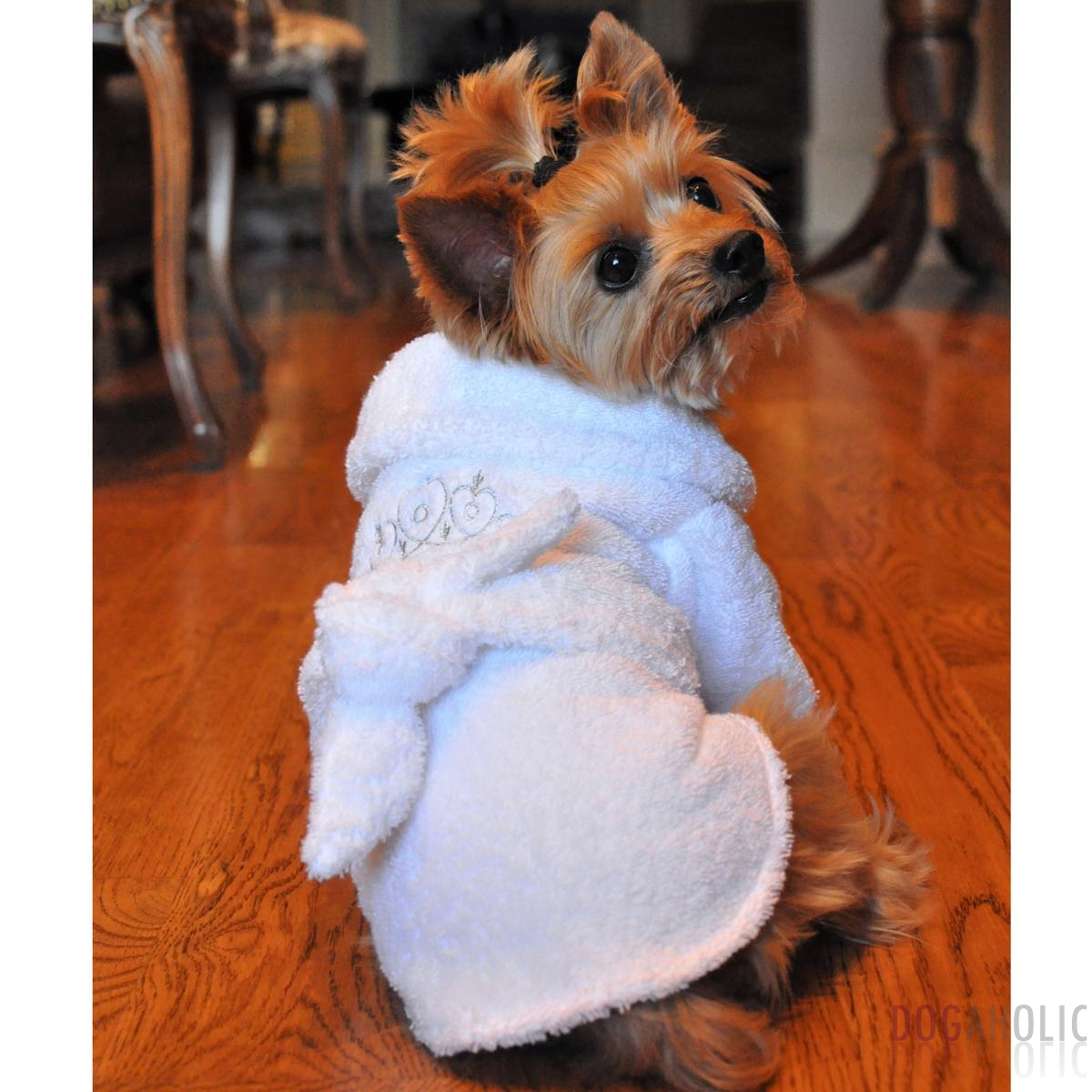 White Silver Tiara Cotton Dog Bathrobe Dogaholic