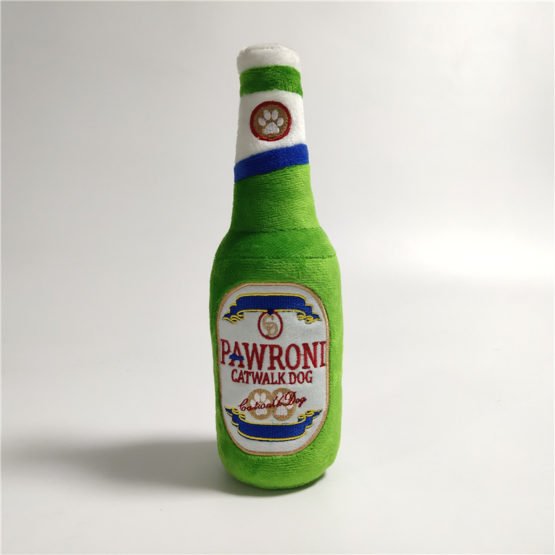 Pawroni Beer Bottle Plush Dog Toy