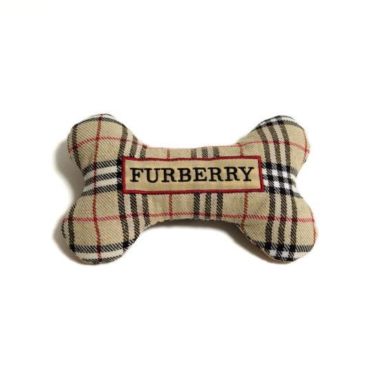 CatwalkDog Furberry Bone Parody Plush Dog Toy