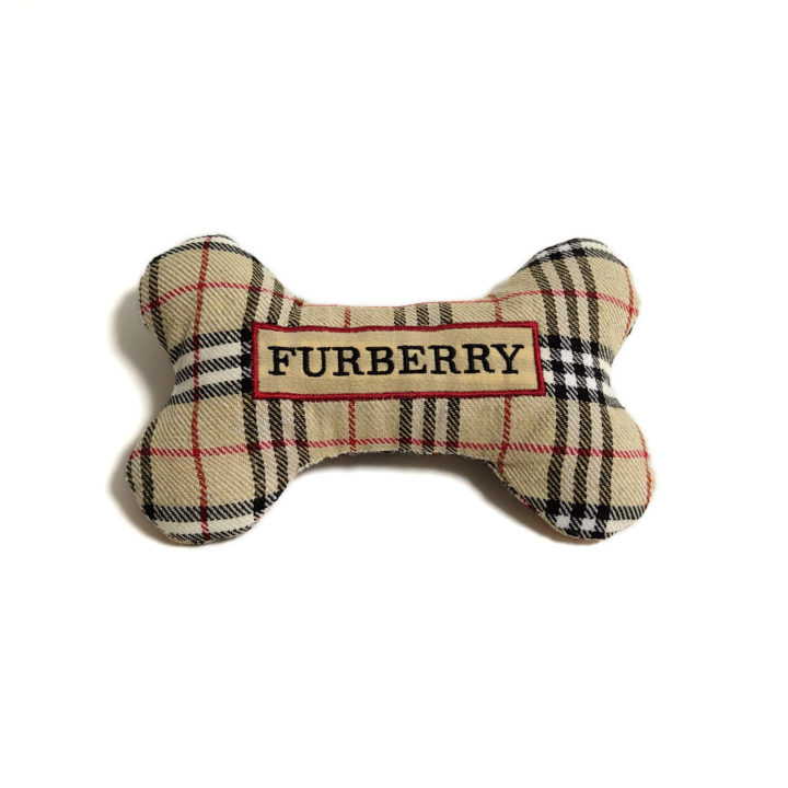 CatwalkDog Furberry Bone Parody Plush Dog Toy